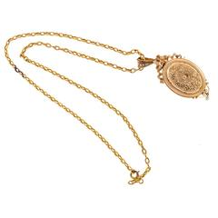 Natural Pearl Gold Ribbon Filigree Pin Pendant Locket Necklace