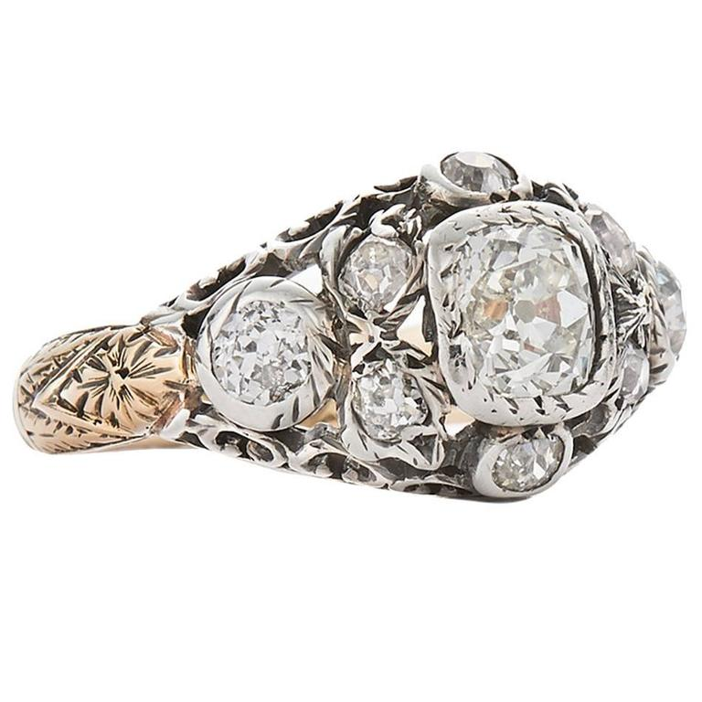 Georgian Old Mine Diamond Silver Gold Cluster Ring