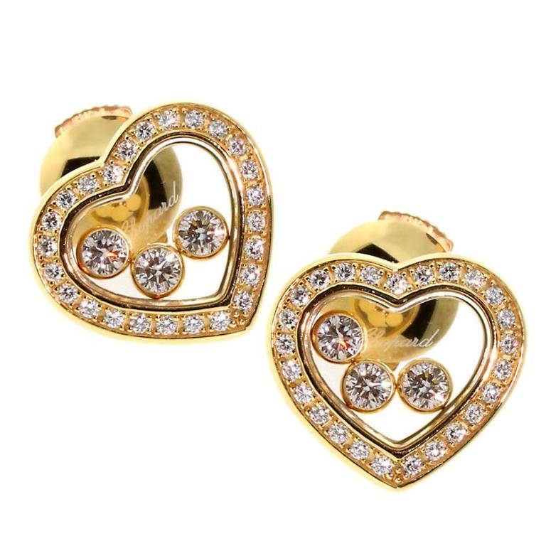 Chopard Happy Diamond Gold Heart Earrings