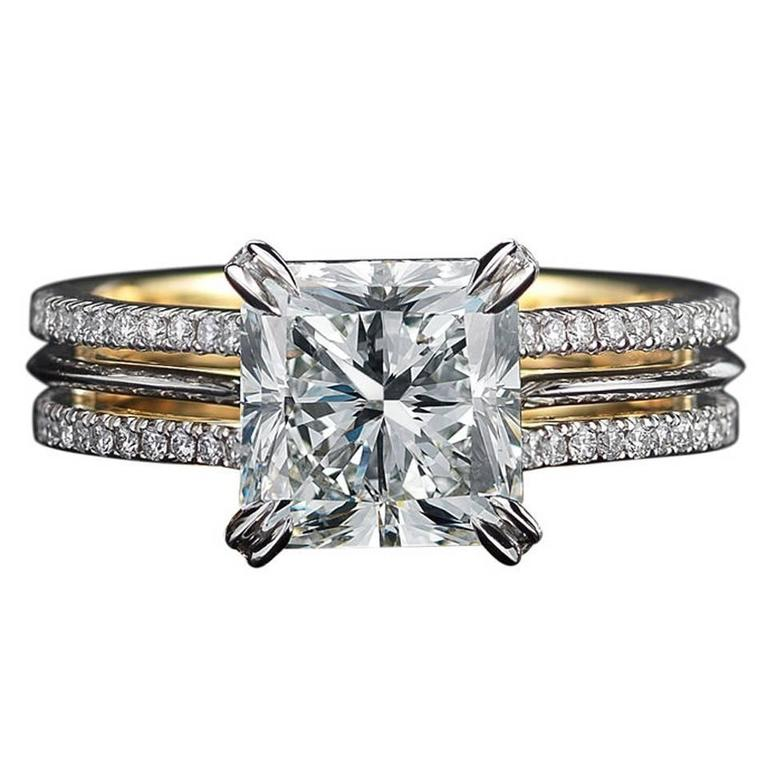 Radiant-Cut Diamond Gold Platinum Ring