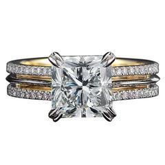 Radiant-Cut Diamond Gold Platinum Ring