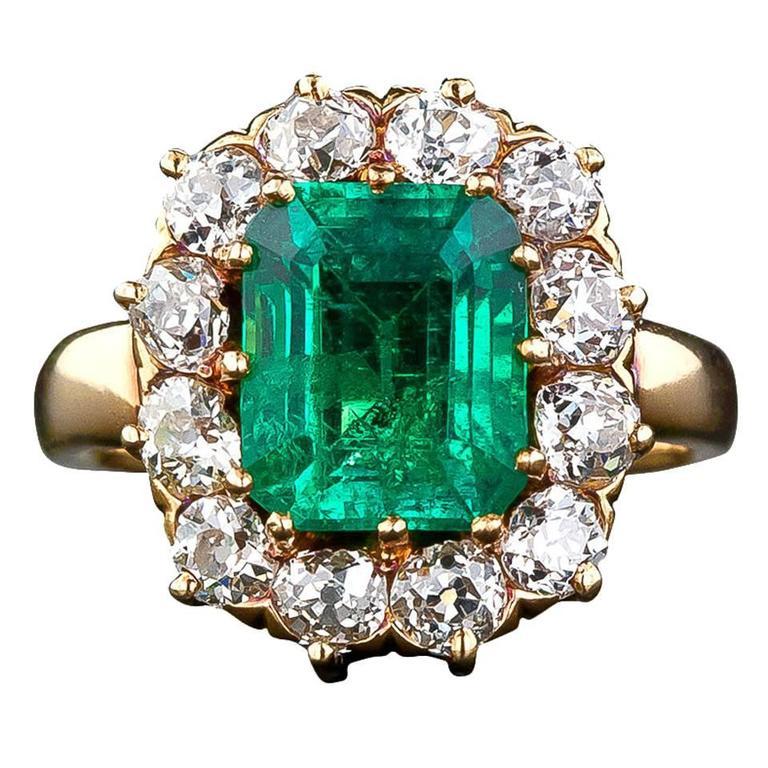 Victorian Colombian Muzo Mine Emerald Diamond Gold Ring at 1stdibs