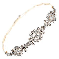 Edwardian Diamond Flower Bracelet