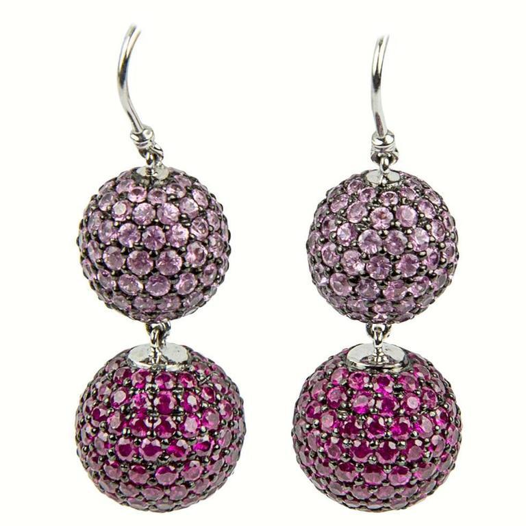 Ruby Pink Sapphire Pavé Gold Ball Drop Earrings
