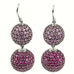 Ruby Pink Sapphire Pavé Gold Ball Drop Earrings