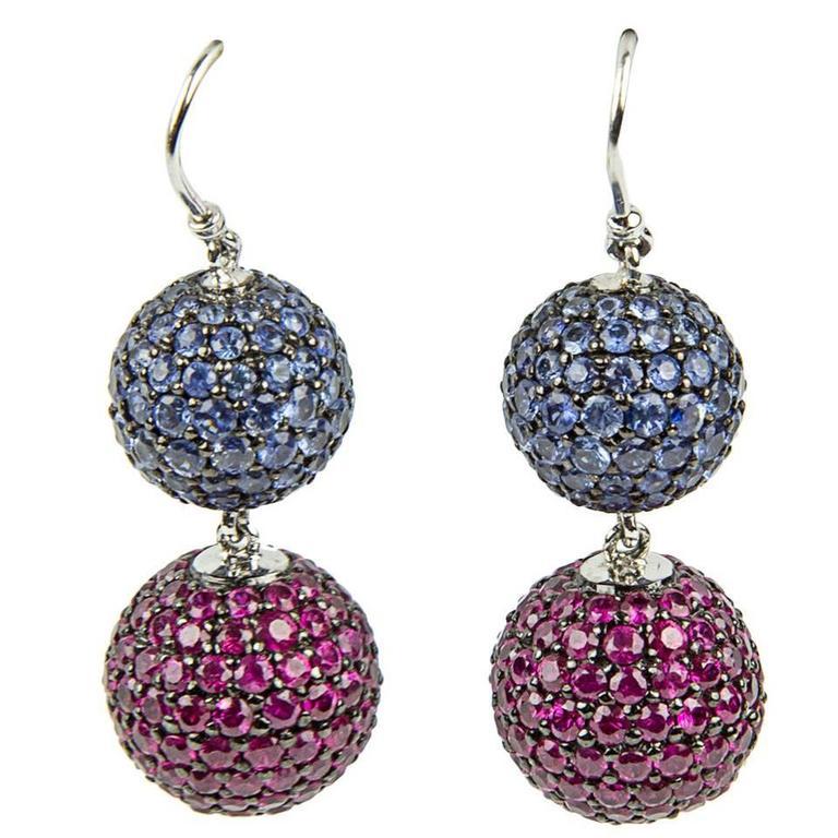Ruby Blue Sapphire Gold Ball Drop Statement Earrings