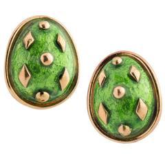 Tiffany & Co. Schlumberger Enamel Gold Dot Losange Earclips