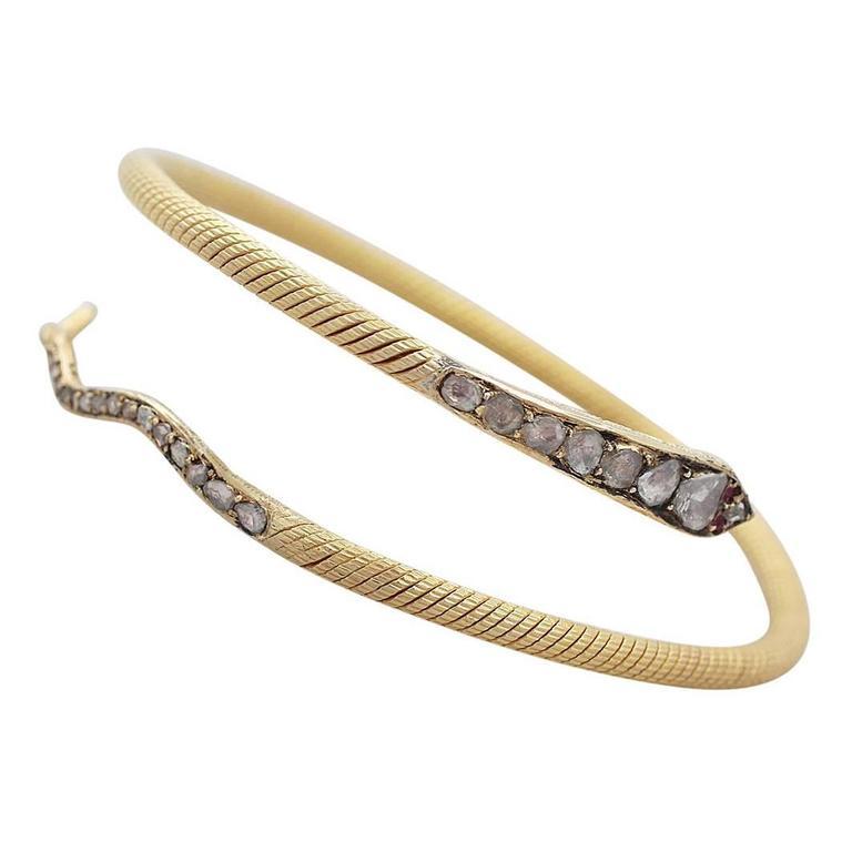 2.05Ct Diamond & Ruby, 22k Yellow Gold 'Snake' Bangle - Antique Egyptian C1860 1