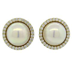 Impressive Large Pearl Diamond Gold Earrings