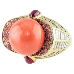 Mauboussin Monture Coral Pink Ruby Diamond Gold Ring