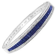 Sapphire and Diamond Gold Bangle Bracelet