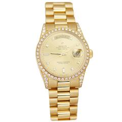 Rolex Yellow Gold Diamond Day Date President Automatic Wristwatch Ref 18388