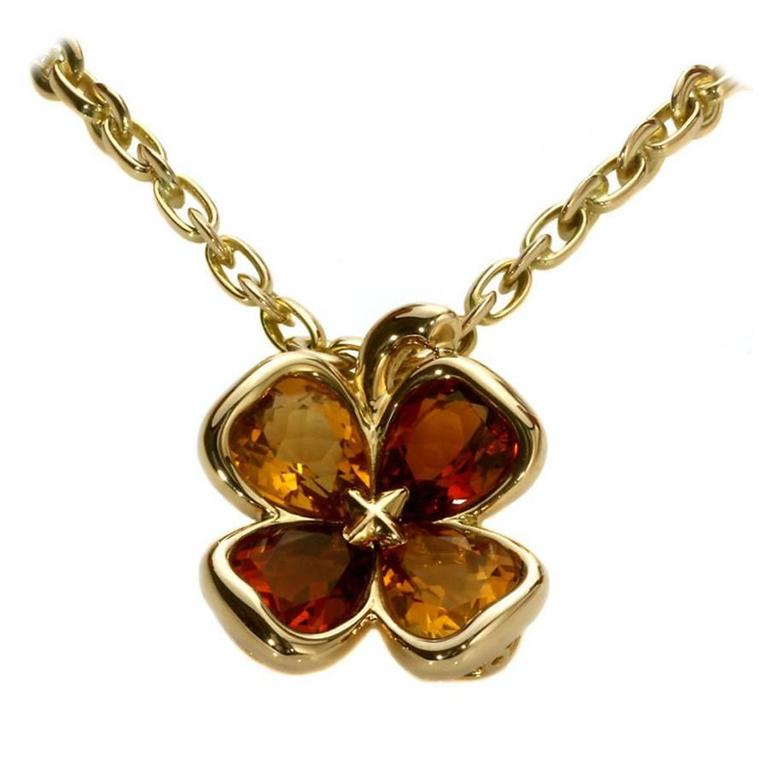 Chanel Citrine Gold Clover Necklace 1