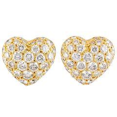 Cartier Diamond Gold Heart Shaped Earrings