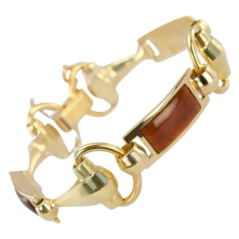 Gucci Brown Enamel Gold Horsebit Bracelet