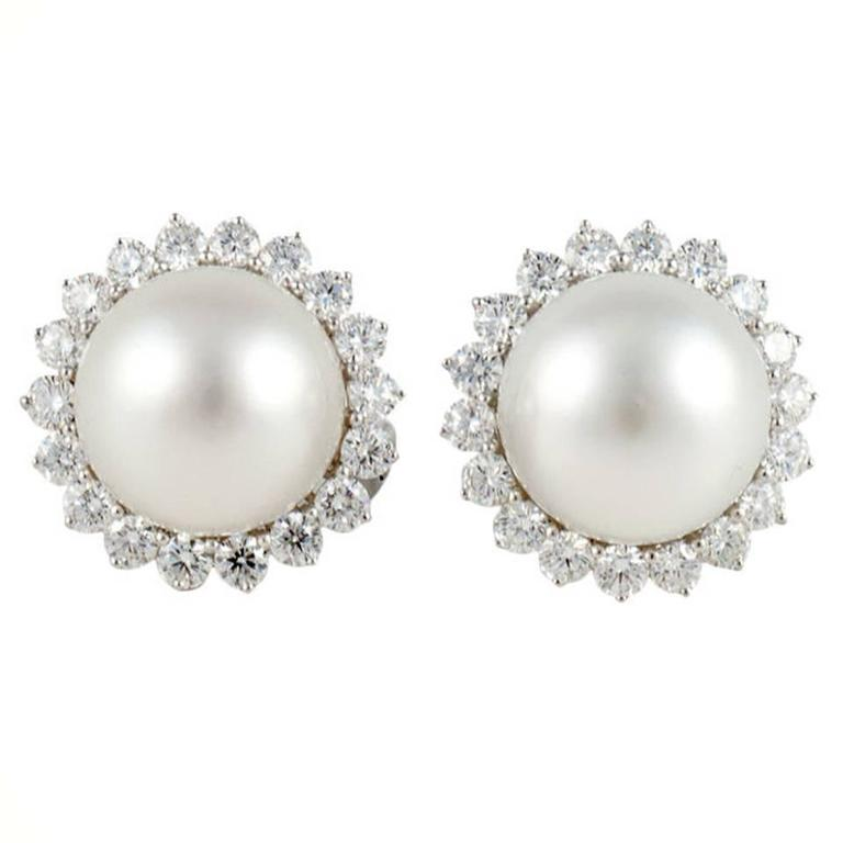 South Sea Pearl Diamond Gold Earrings