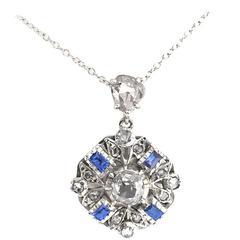 Sapphire Diamond 3.4 Carat Silver Cluster Pendant