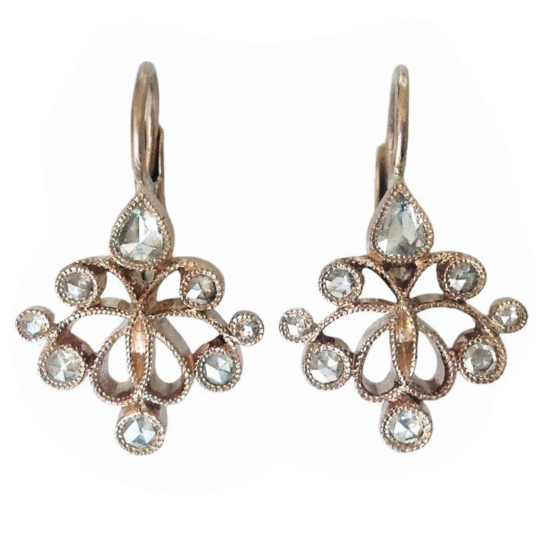 Dalben Rose Cut Diamond Gold Earrings
