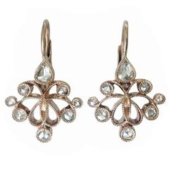 Dalben Rose Cut Diamond Gold Earrings
