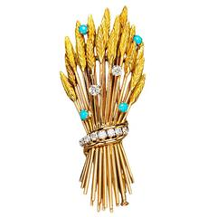 Arfan Paris French Turquoise Diamond Gold Pin