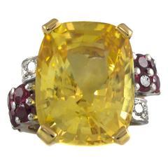 Natural No Heat Yellow Sapphire Ruby Diamond Gold Ring