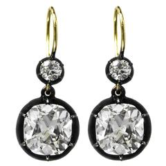Antique Cushion Brilliant Cut Diamond Platinum Gold Earrings