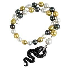 Black Jade Pearl Diamond Gold Snake Necklace