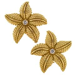 Diamond Gold Starfish Ear Clips