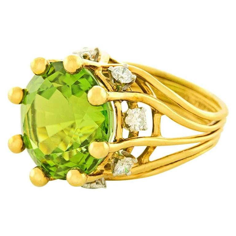 Jean Schlumberger for Tiffany & Co. Peridot Diamond Gold Ring 1