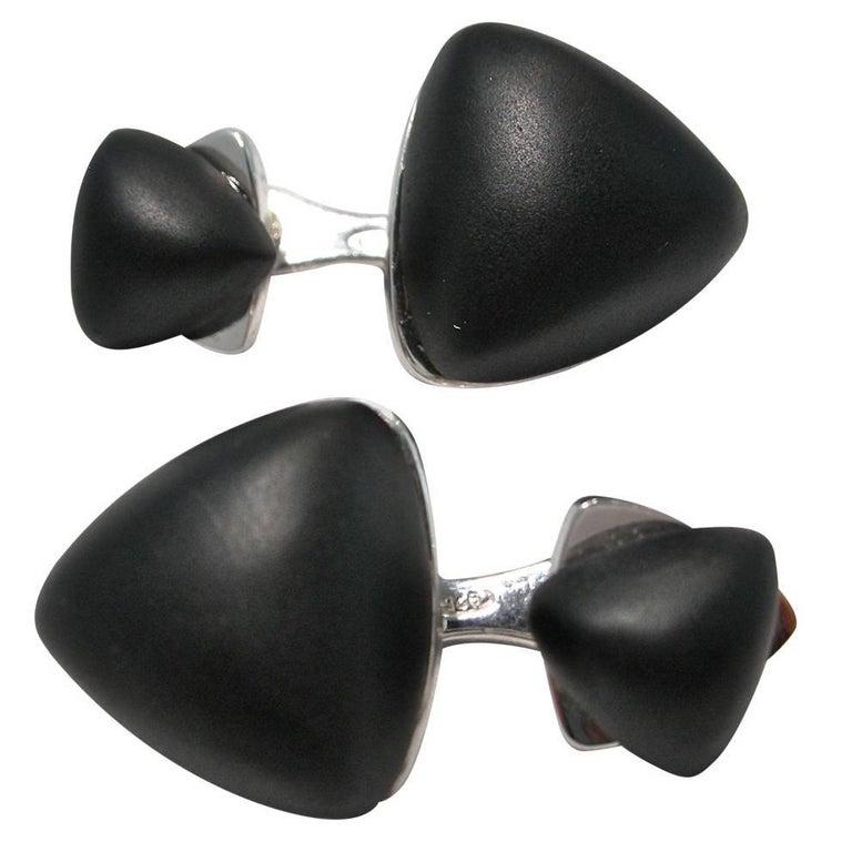 Jona Matte Onyx Geometric Sterling Silver Cufflinks For Sale