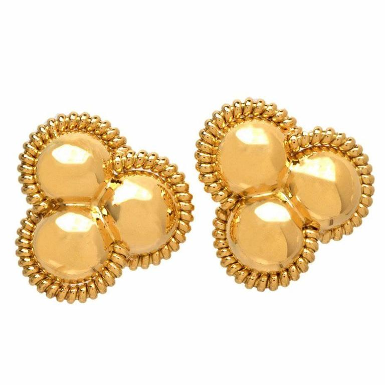Italian Gold Clip Post Earrings For