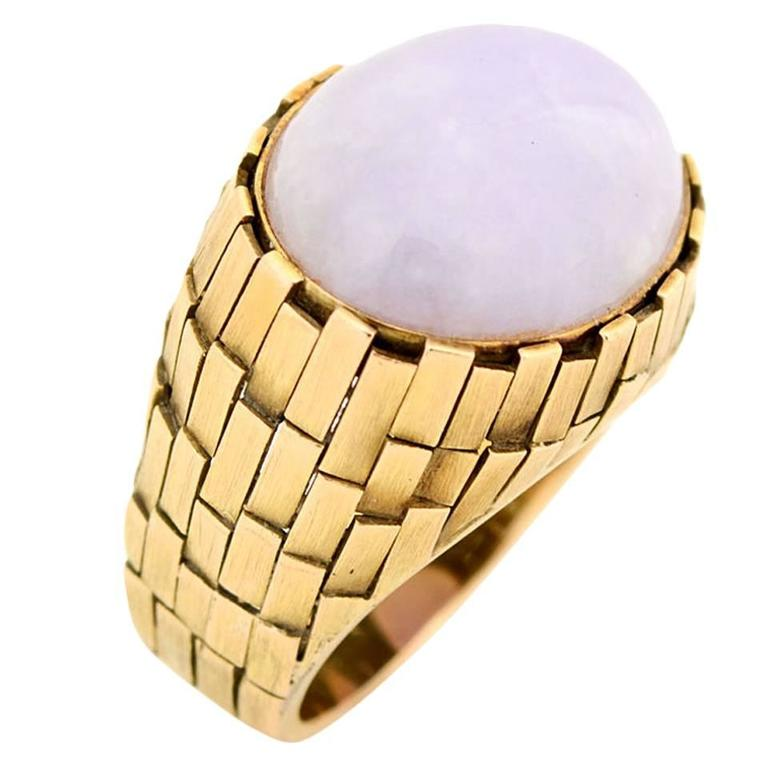 Lavender Jade Textured Gold Ring For Sale