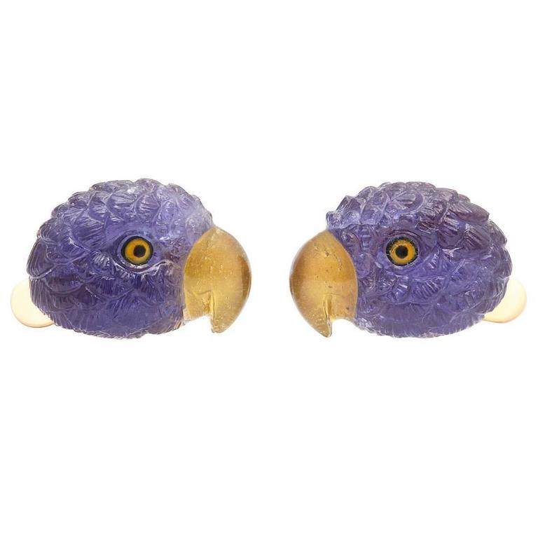 Michael Kanners Tanzanite Gold Parrot Cufflinks For Sale