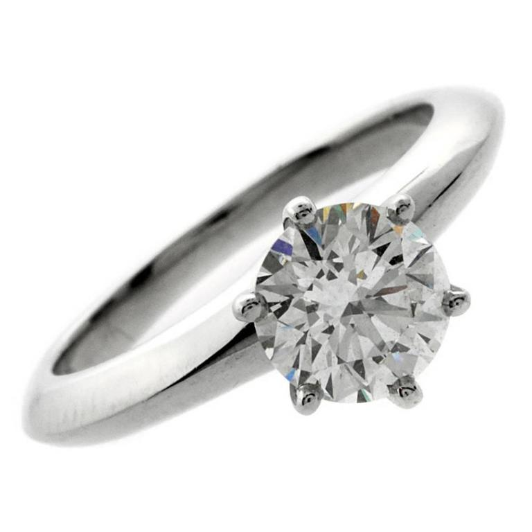 Tiffany & Co. Diamond Platinum Solitaire Ring For Sale