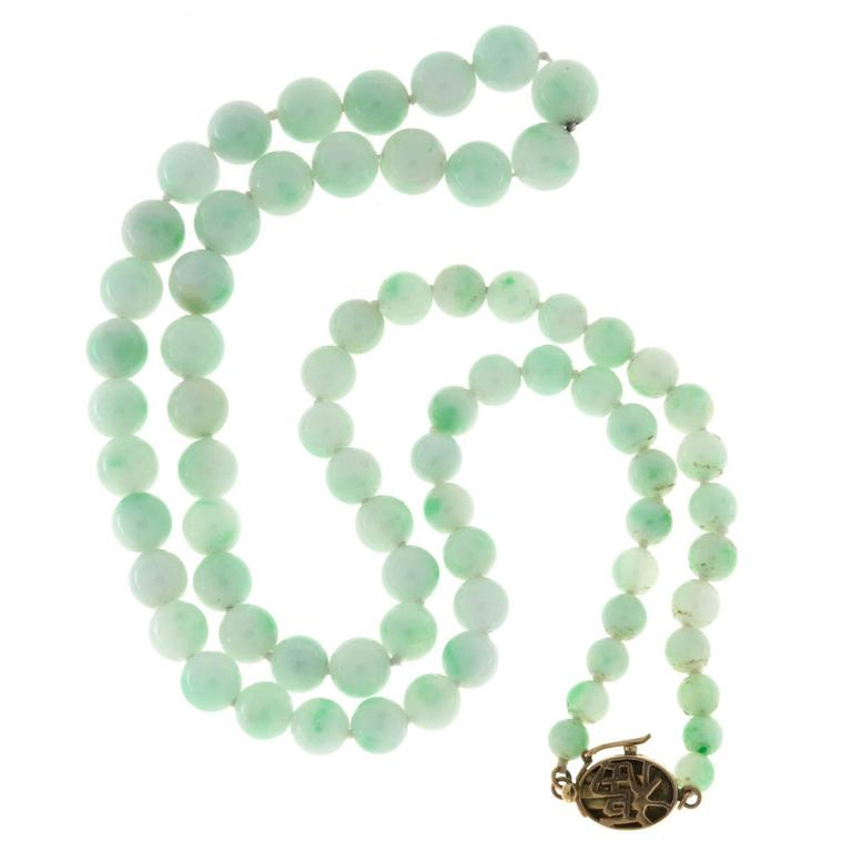 Untreated Light Green Jadeite Jade Yellow Gold Necklace 1