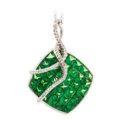 Dilamani Tsavorite Garnet Diamond Gold Pendant Necklace