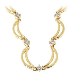 Diamond Yellow Gold Crescent Link Necklace