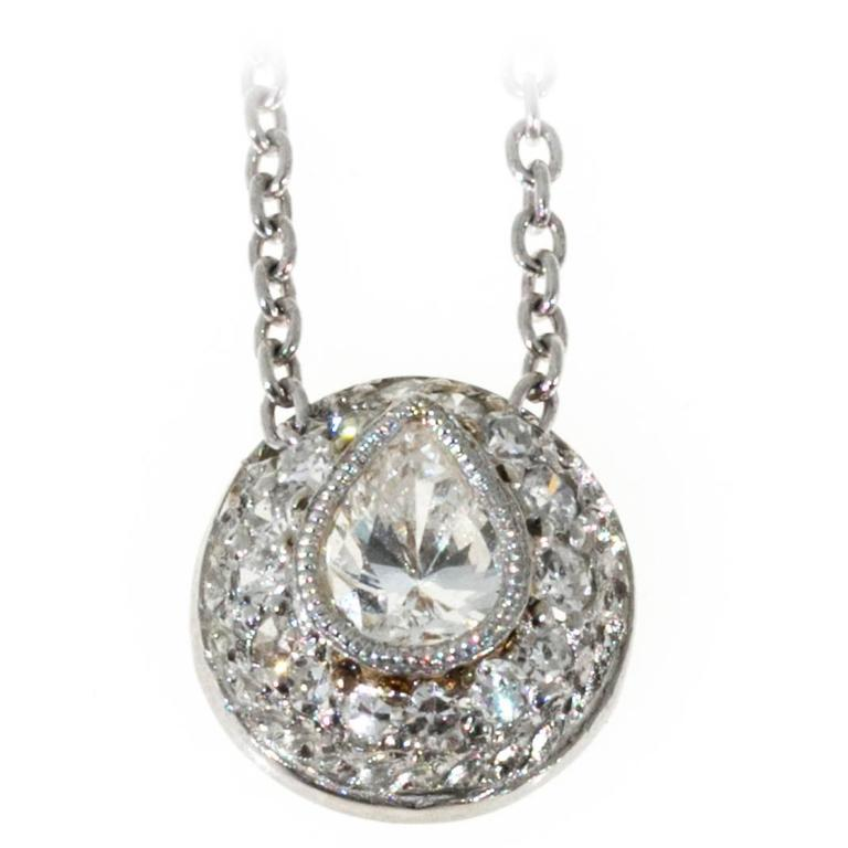 Domed Pear and Round Pave Diamond Platinum Pendant Slide Necklace