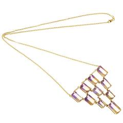 Peter Suchy Ametrine Yellow Gold Pendant Necklace Chain