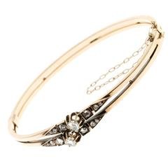 Rose Cut Diamond Gold Bangle Bracelet