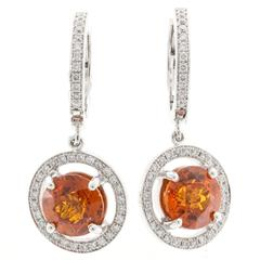 Peter Suchy Spessartite Orange Garnet Diamond Gold Dangle Earrings
