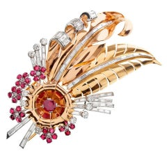 GHISO Ruby Diamond Rose Gold Retro Pin
