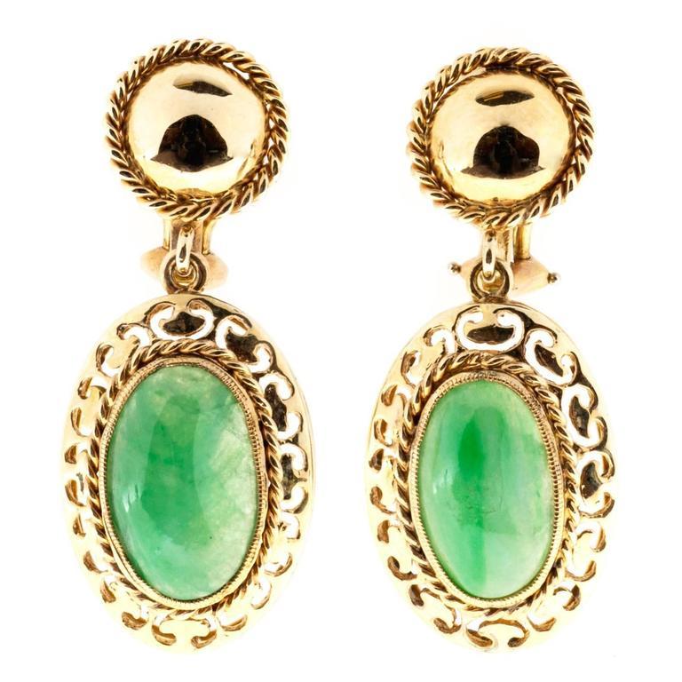 Jadeite Jade Rose Gold Clip and Post Earrings