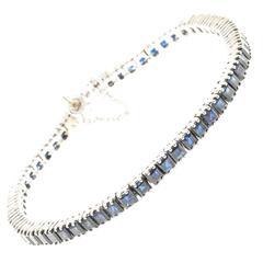 Deep Blue Sapphire Gold Tennis Bracelet
