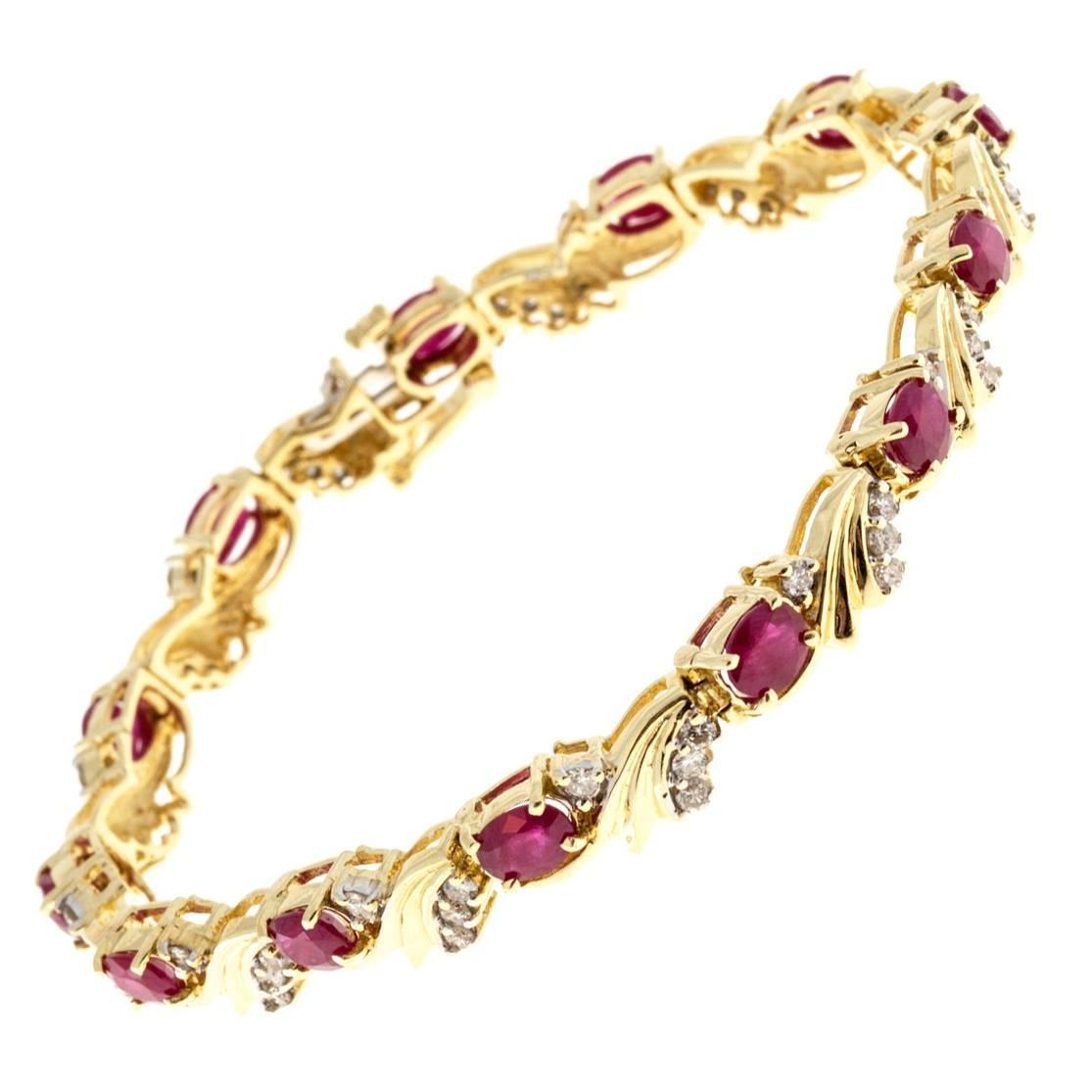 ruby and diamond swirl link yellow gold bracelet at 1stdibs