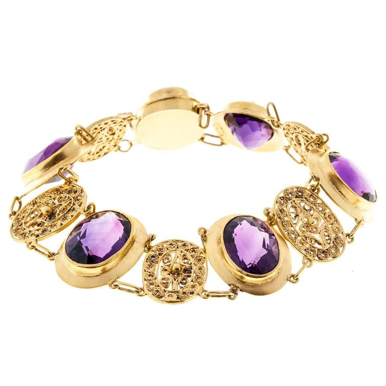 Amethyst Gold Filigree Bracelet For