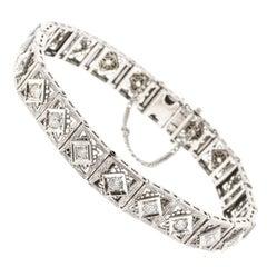 Old European Cut Diamond Platinum Gold Gold Bracelet