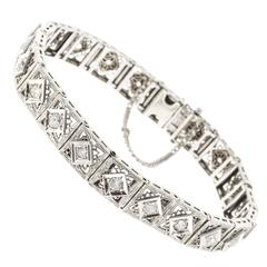 Old European Cut Diamond Platinum Gold Gold Bracelet