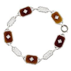 Carnelian Diamond Gold Filigree Bracelet