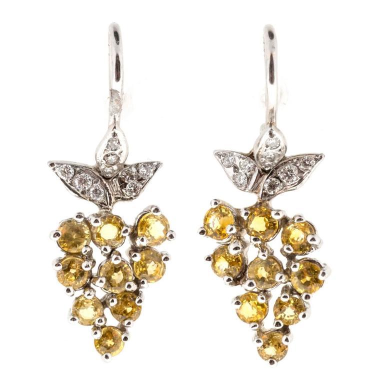 Yellow Sapphire Pave Diamond Platinum Dangle Earrings